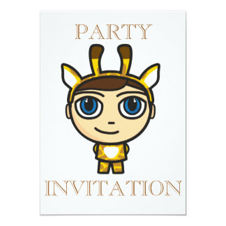 Giraffe Boy Cartoon Character Invitation