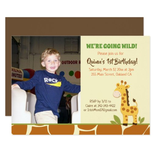 Giraffe Boy or Girl Zoo Birthday Invitation