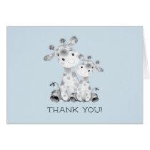 Giraffe Boys Baby Shower Thank You Note