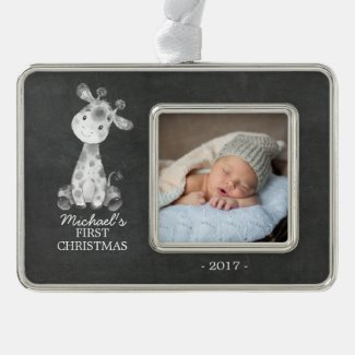 Giraffe Boys Baby's First Christmas Photo Ornament