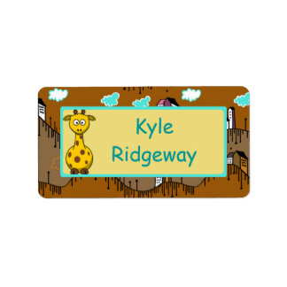 Giraffe - Boys school name label Address Label