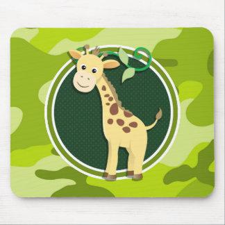 Giraffe; bright green camo, camouflage mouse pad