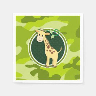 Giraffe; bright green camo, camouflage disposable napkins