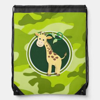 Giraffe; bright green camo, camouflage drawstring backpack