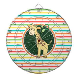 Giraffe; Bright Rainbow Stripes Dartboards