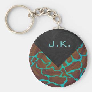 Giraffe Brown and Teal Print Basic Round Button Keychain