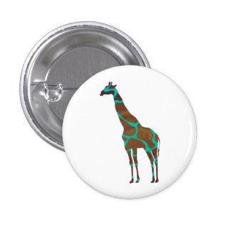 Giraffe Brown and Teal Print Button