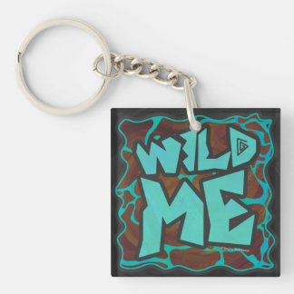 Giraffe Brown and Teal Print Single-Sided Square Acrylic Keychain