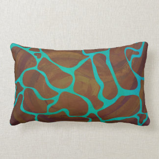 Giraffe Brown and Teal Print Lumbar Pillow