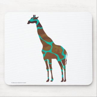 Giraffe Brown and Teal Print Mouse Pad