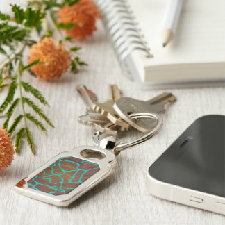 Giraffe Brown and Teal Print Silver-Colored Rectangular Metal Keychain