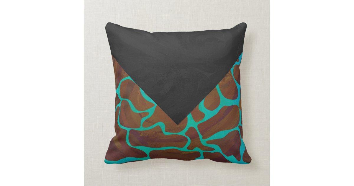 Giraffe Brown and Teal Print Throw Pillow Zazzle