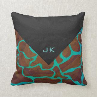 Giraffe Brown and Teal Print Throw Pillow