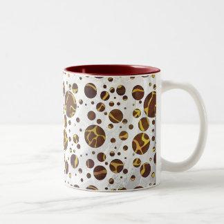 Giraffe Brown and Yellow Print Mugs