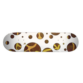 Giraffe Brown and Yellow Print Skateboard Deck