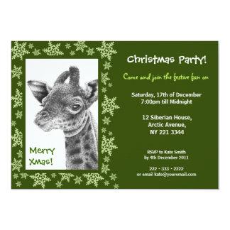 Giraffe Calf Christmas Party Invitation