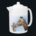 "Giraffe &amp; Calf Teapot<br><div class=""desc"">Reproduced from an acrylic &amp; watercolour original illustration of a giraffe and her calf,  this charming image makes a great design for a teapot!</div>"