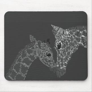 Giraffe Calligram Mouse Pad
