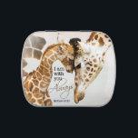 """Giraffe candy tin - pill box<br><div class=""""desc"""">Original artwork of giraffe mama and baby. Bible verse: I am with you always. Matthew 28:20</div>"""
