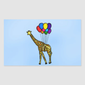 Giraffe Carried By Balloons Rectangular Sticker