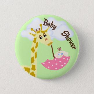 Giraffe Carrying Umbrella Baby Shower Invitation Pinback Button