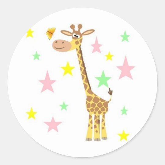 giraffe cartoon classic round sticker