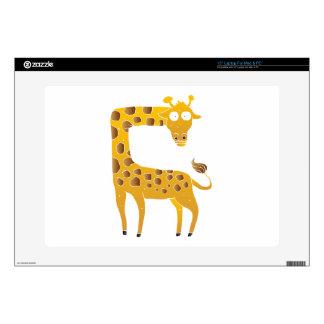 """giraffe cartoon. decals for 15"""" laptops"""