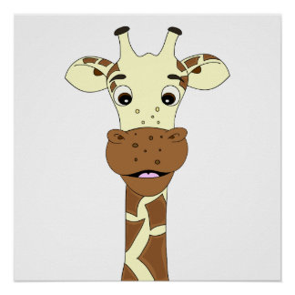 Giraffe cartoon kids poster