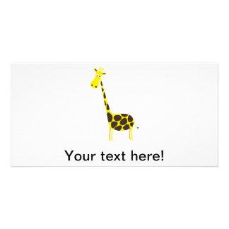 Giraffe cartoon personalized photo card