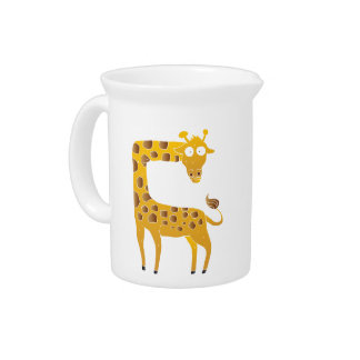 giraffe cartoon. pitcher