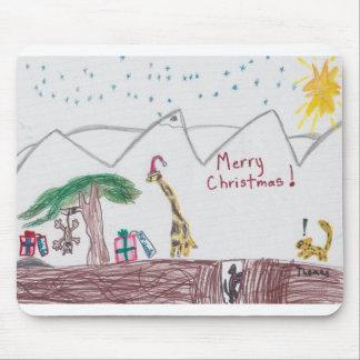 Giraffe, Cheetah and Monkey at Christmas Mouse Pad