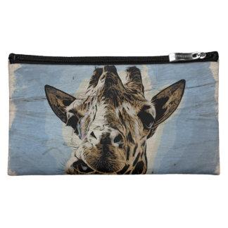 Giraffe chewing cosmetic bags