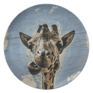 Giraffe chewing party plates