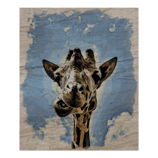 Giraffe chewing poster