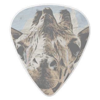 Giraffe chewing white delrin guitar pick