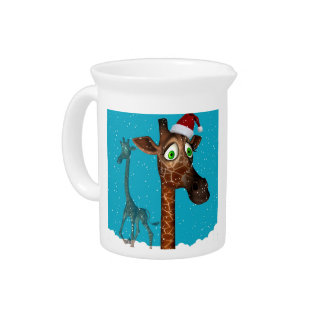 giraffe Christmas and holiday pitcher