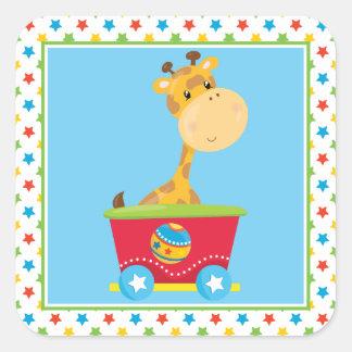 Giraffe | Circus Train | Circus Themed Square Sticker