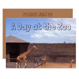 Giraffe Classic Retro Day at the Zoo Baby Giraffes Card
