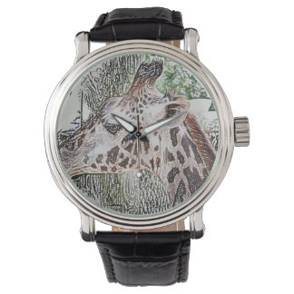 giraffe colored pencil style animal jungle sketch wrist watch