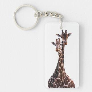 Giraffe Couple Photo Keychain