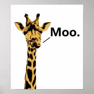 Giraffe Cow Funny Poster