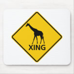 Giraffe Crossing Highway Sign Mouse Pad