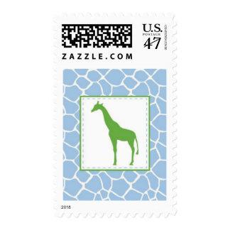 Giraffe Custom Postage Stamp - Light Blu and Green