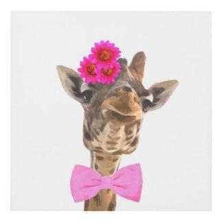 Giraffe cute adorable funny jungle animal nursery panel wall art