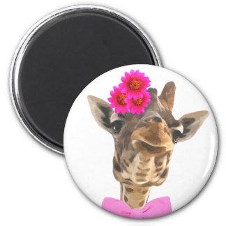 Giraffe cute funny jungle animal watercolor magnet