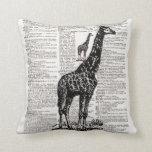 Giraffe Dictionary Art Throw Pillow
