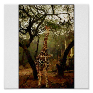 Giraffe Digital Painting with canvas effect Poster