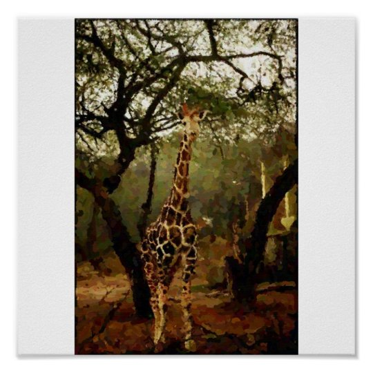 Giraffe Digital Painting (with canvas effect) Poster