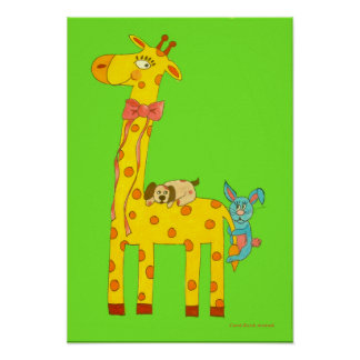 Giraffe, Dog and Bunny original illustration Poster