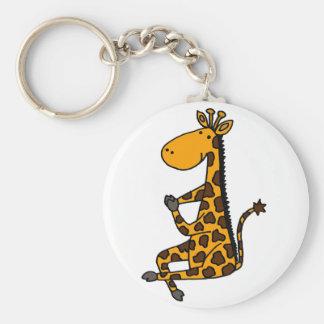Giraffe doing YogarCartoon Basic Round Button Keychain